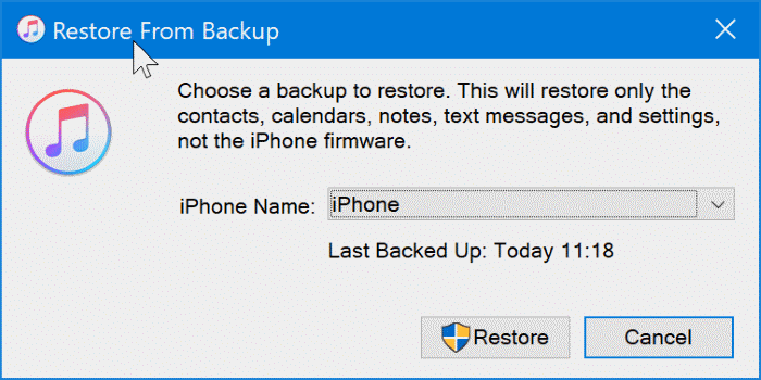 back up iphone to Windows 10 PC with iTunes pic7