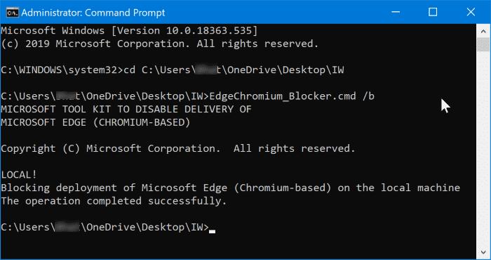 prevent auto installation of chromium edge in Windows 10