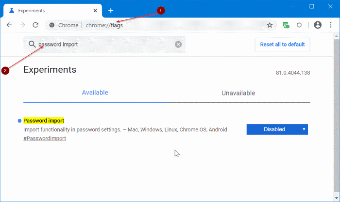 import passwords into Chrome from CSV file pic1