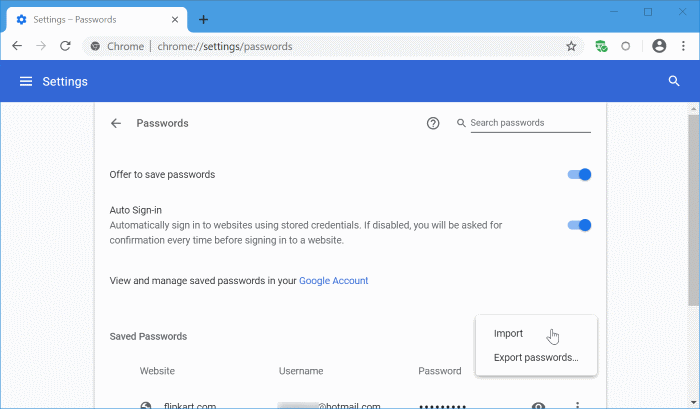 import passwords into Chrome from CSV file pic4