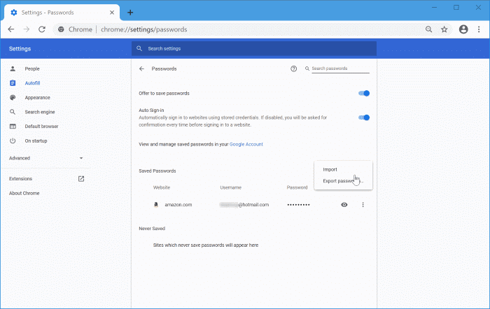 import passwords into Chrome from CSV file pic7