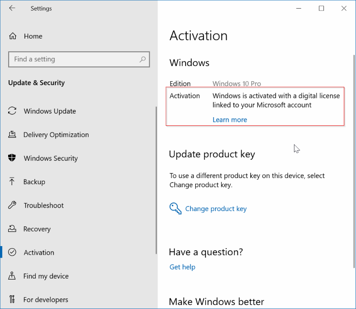 unlink Windows 10 license from Microsoft account pic1