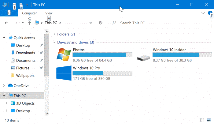 show or hide drive letters in Windows 10