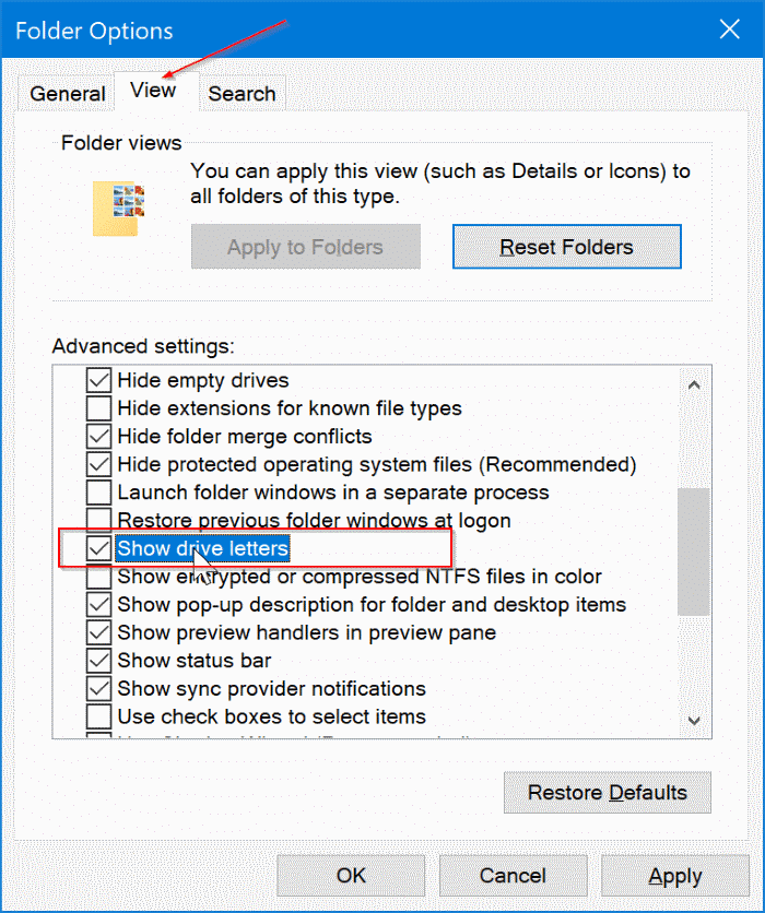 show or hide drive letters in Windows 10 File Explorer pic3