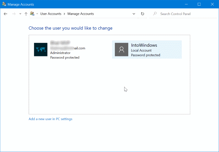 change or remove local account password in Windows 10 pic3