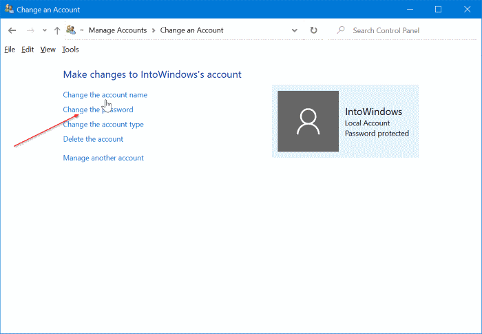 change or remove local account password in Windows 10 pic4