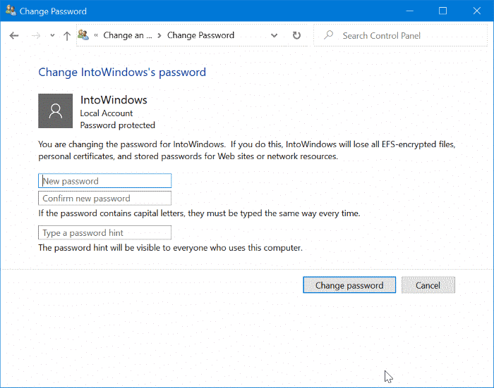 change or remove local account password in Windows 10 pic5