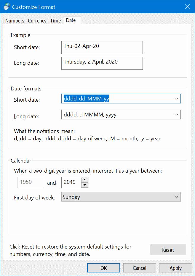 display day of week on the Windows 10 taskbar pic4