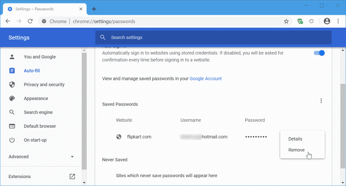 update passwords saved in Google Chrome pic1