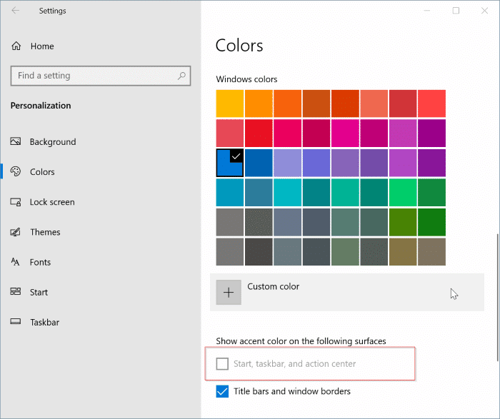 start taskbar and action center is grayed out in Windows 10 settings pic01