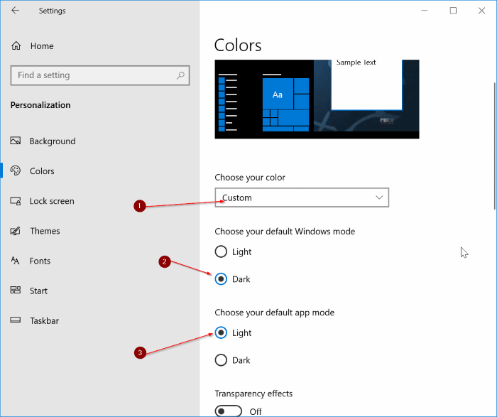 start taskbar and action center is grayed out in Windows 10 settings pic1