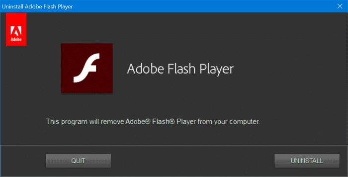 completely uninstall Adobe Flash Player from Windows 10 pic1.2