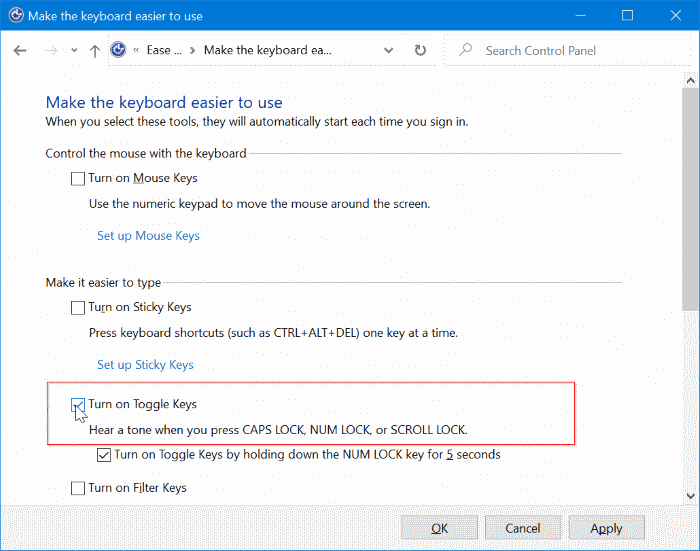turn on or off sound & visual indicator for caps lock & num lock in Windows 10 pic6