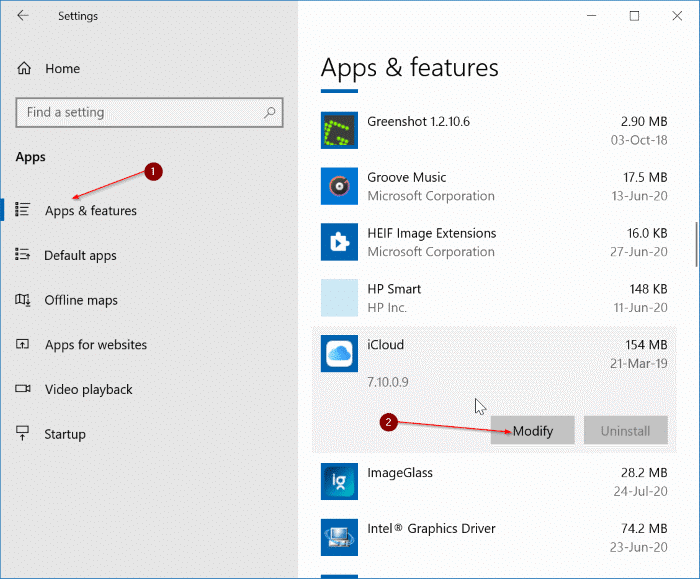 Uninstall icloud and icloud photos from Windows 10 pic1