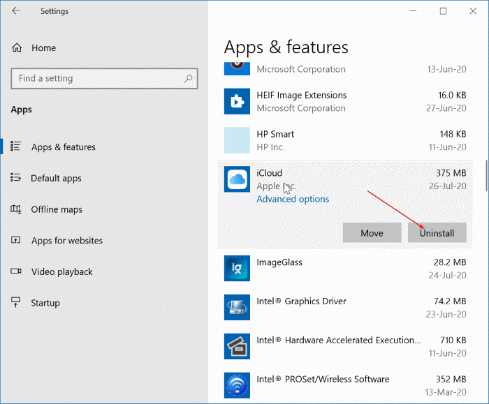 Uninstall icloud and icloud photos from Windows 10 pic21