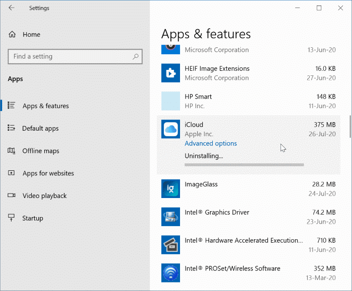 Uninstall icloud and icloud photos from Windows 10 pic22
