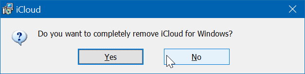 Uninstall icloud and icloud photos from Windows 10 pic3