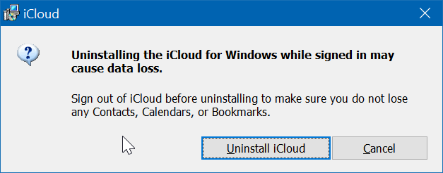 Uninstall icloud and icloud photos from Windows 10 pic5