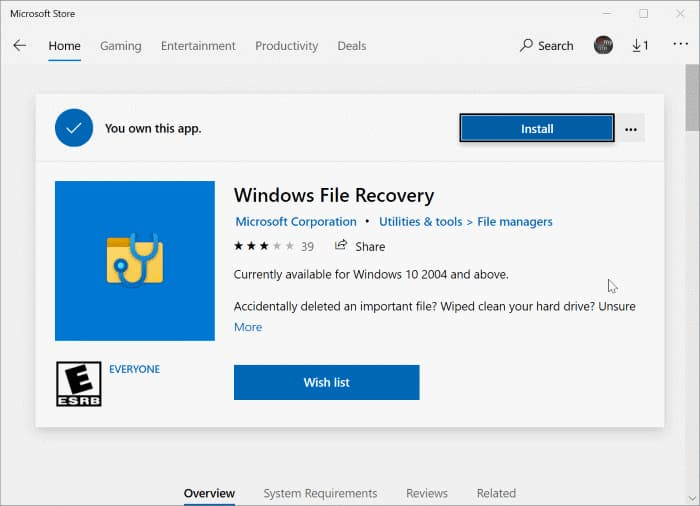 using windows file recovery app in Windows 10 pic2