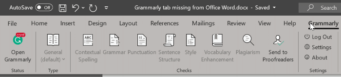 Grammarly missing from Office Word pic01