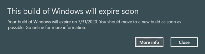This build of Windows 10 will expire soon