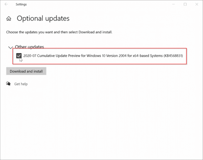 View optional updates link missing in Windows 10 pic1