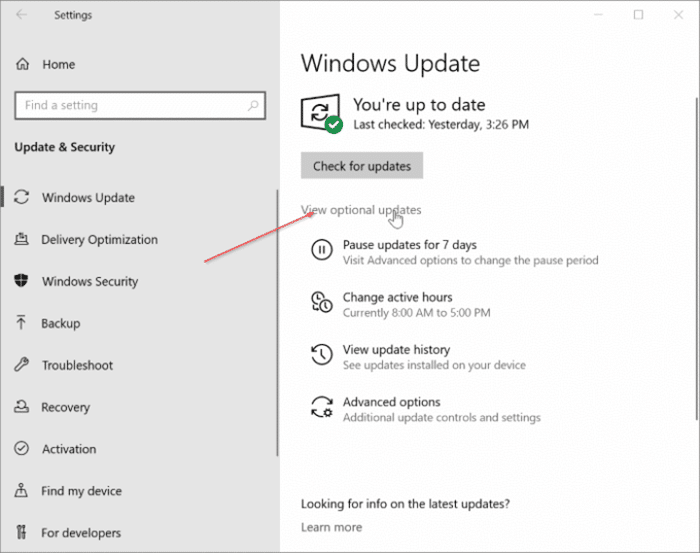 View optional updates link missing in Windows 10