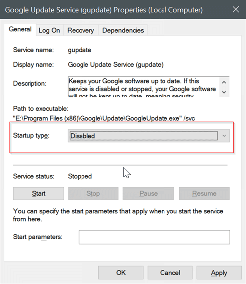 disable Google Chrome automatic updates in Windows 10 pic3