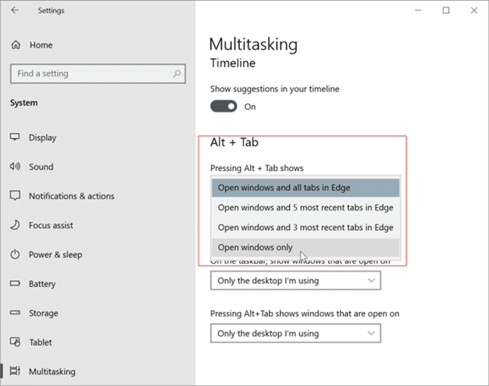 disable edge tabs in Alt Tab screen Windows 10 pic1