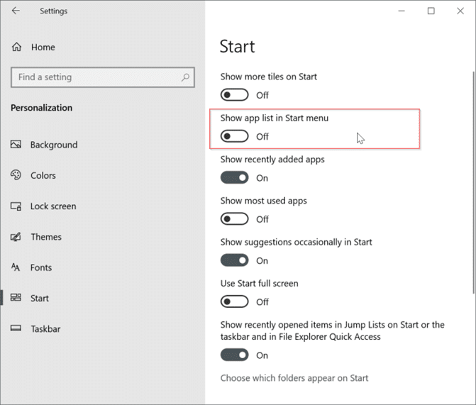 show only tiles on the Start menu in Windows 10 pic3