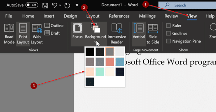 change focus mode background color in Office Word pic5