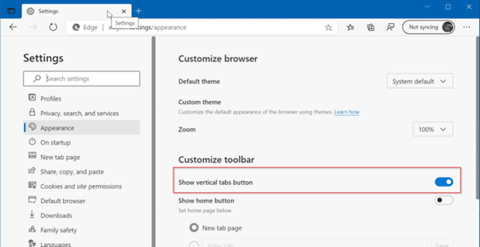 Microsoft Edge vertical tabs pic8
