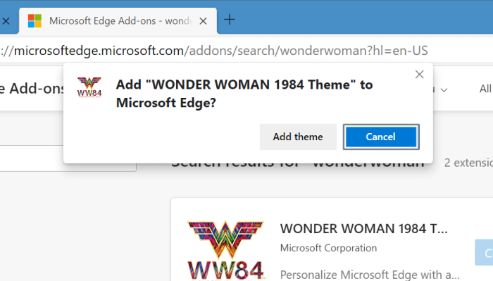 install and uninstall themes in Microsoft Edge in Windows 10 pic6