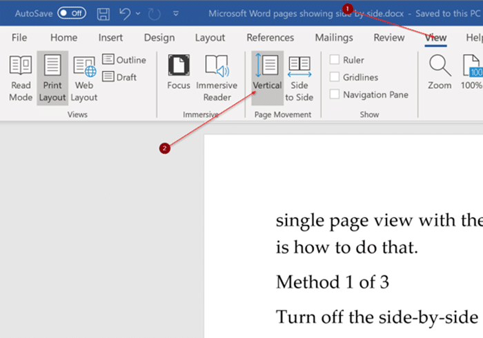 Fix Office Word shows two pages side by side pic2