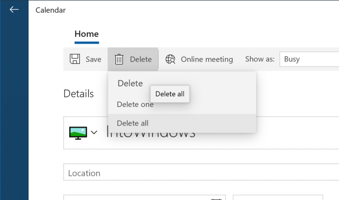 add or delete reminders in Windows 10 Calendar pic11