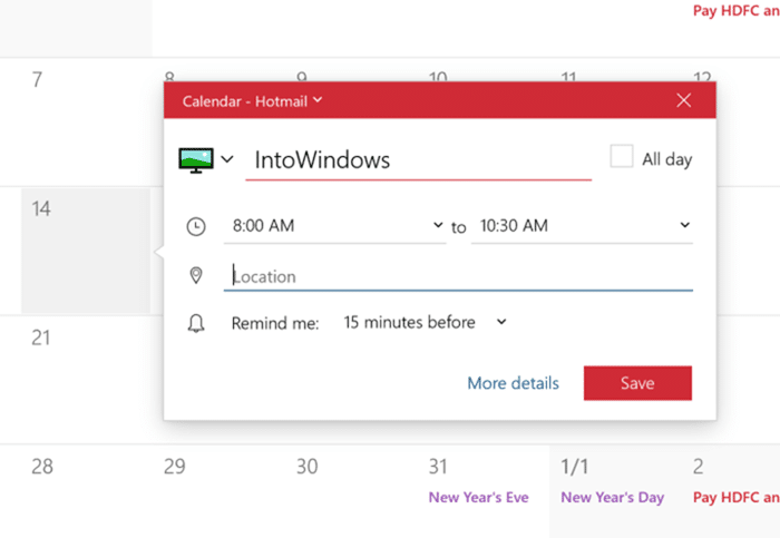add or delete reminders in Windows 10 Calendar pic4
