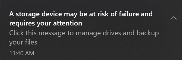 A storage device may be at risk of failure and requries your attention