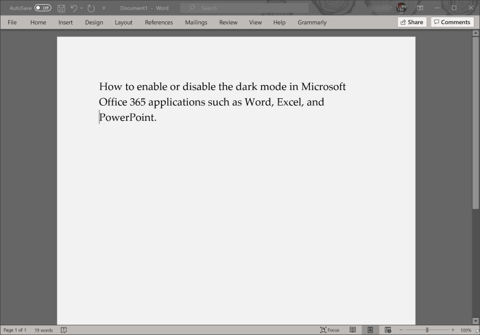 enable or disable dark mode in Office 365 Word, Excel and PowerPoint pic5
