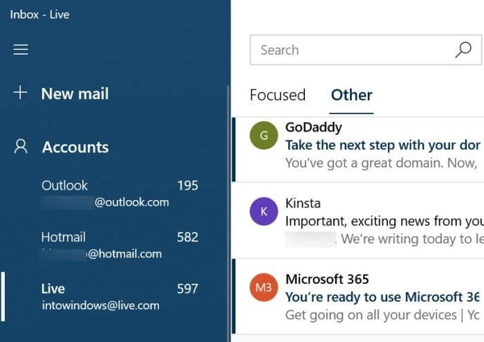 rearrange email accounts in Windows 10 Mail app pic01
