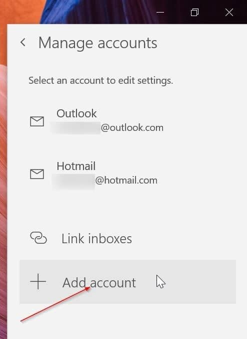 rearrange email accounts in Windows 10 Mail app pic7