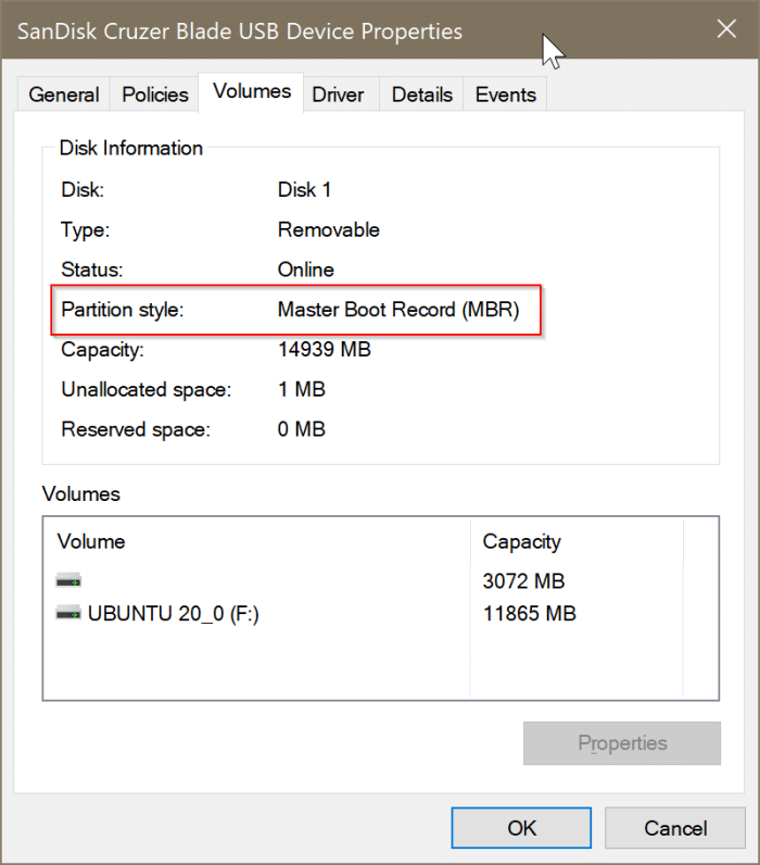 check if a disk is GPT or MBR in Windows 10 pic4