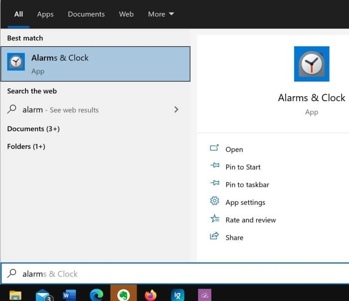 how to use alarms in Windows 10 pic01