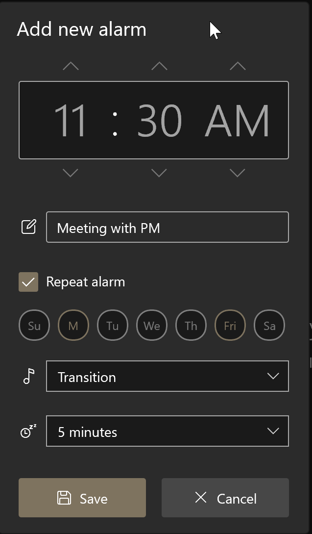 how to use alarms in Windows 10 pic4