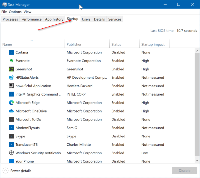 view all startup programs in Windows 10 pic3