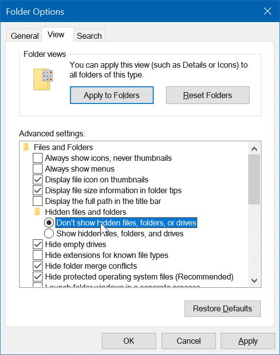 hide files or folders on desktop in Windows 10 pic5