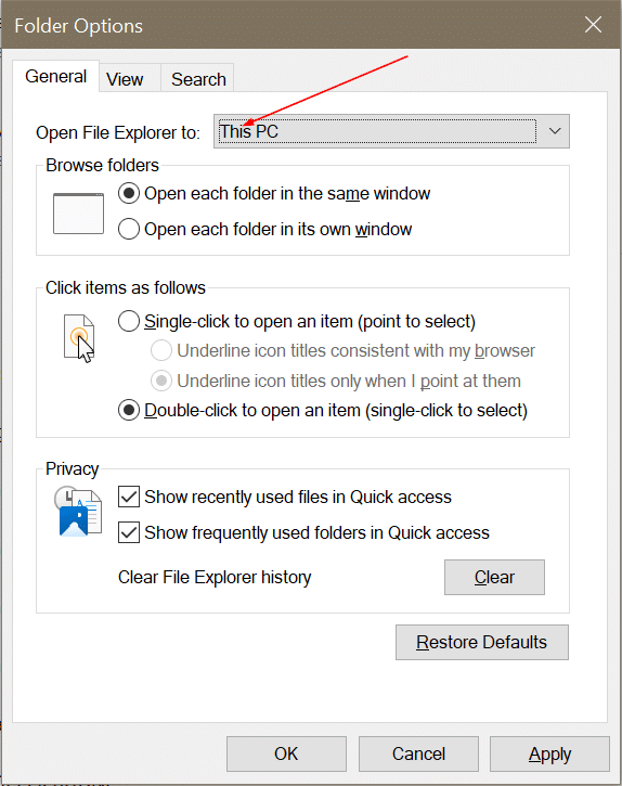 open file explorer to this PC instead of quick access in Windows 10 pic2