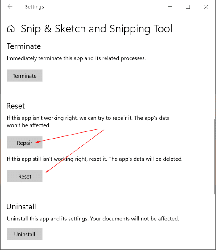 uninstall or reinstall snipping tool and snip and sketch Windows 10 pic3