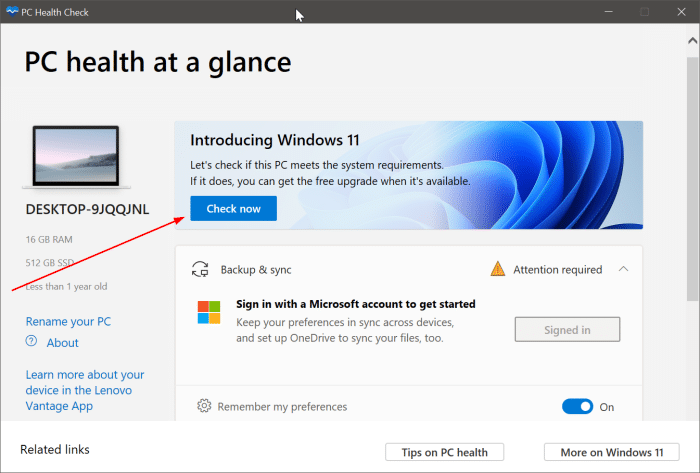 check if your PC can run Windows 11 pic1