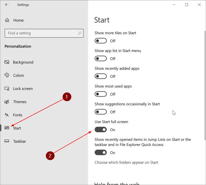 make Start menu full screen in Windows 10 pic1