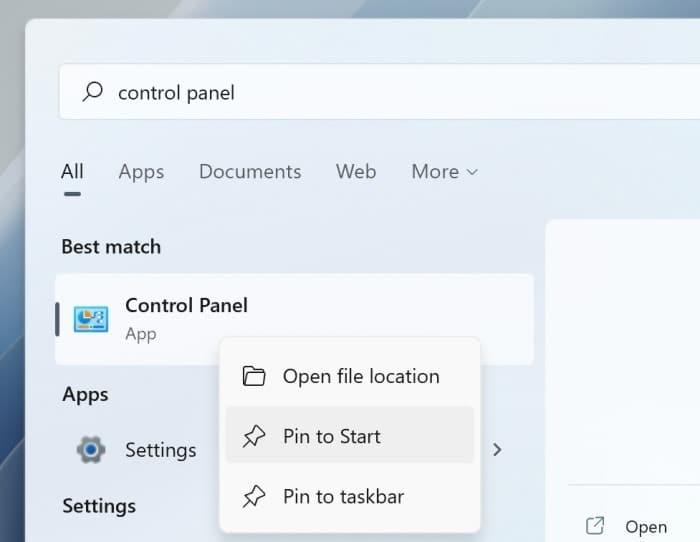 add control panel to Start menu and taskbar in Windows 11 pic1